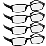Reading Glasses 1.5 4 Pack Black Readers For Men & Women - Spring Arms & Dura-Tight Screws Always Have a Stylish Look and Crystal Clear Vision When You Need It! (Color: 4 Pack Black, Tamaño: 1.50)