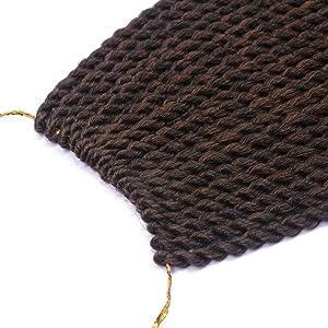 3 Packs 18 Inch Senegalese Twist Crochet Braids Small Havana Mambo Twist Ombre Crochet Hair Senegalese Crochet Twists Braiding Hair for Black Women 20Strands/Pack (1B/30#) (Color: 1B/30#, Tamaño: 3packs/lot)