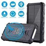 Solar Phone Charger, SendowTek Qi Wireless Charger 12000mAh Portable Solar Power Bank Type C with 3 Output, External Backup Battery, Flashlight, Rainproof for Emergency, Camping, Outdoor Activities (Color: 12000mAh)