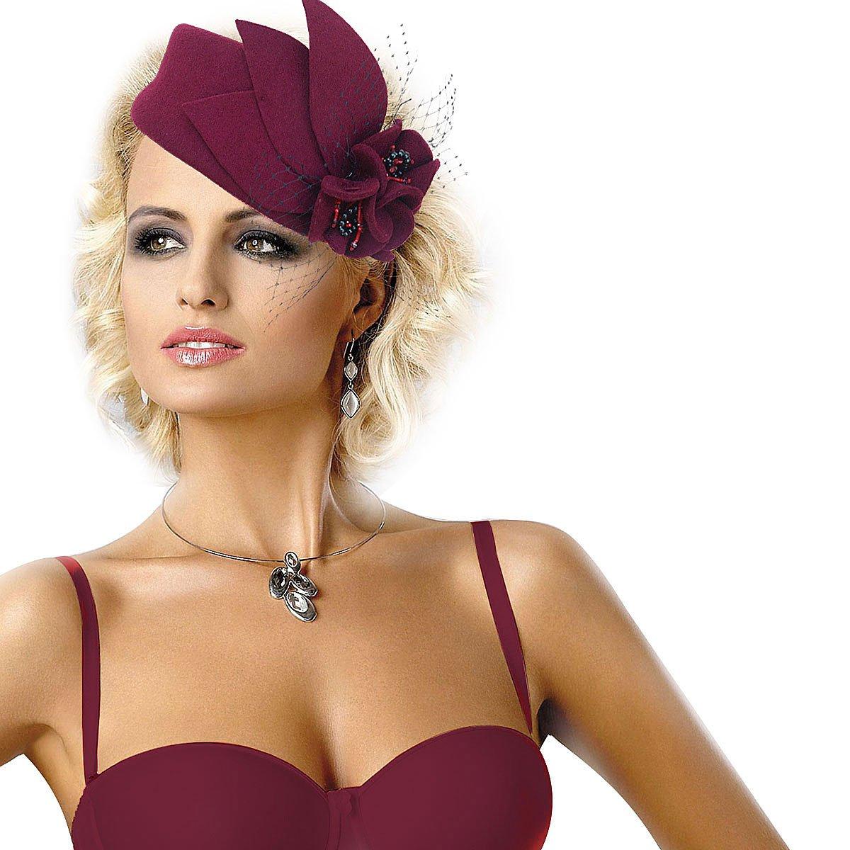 Wine Red Women Fascinator Pillbox Felt Wool Hat Formal Dress Flower Veil A131 0