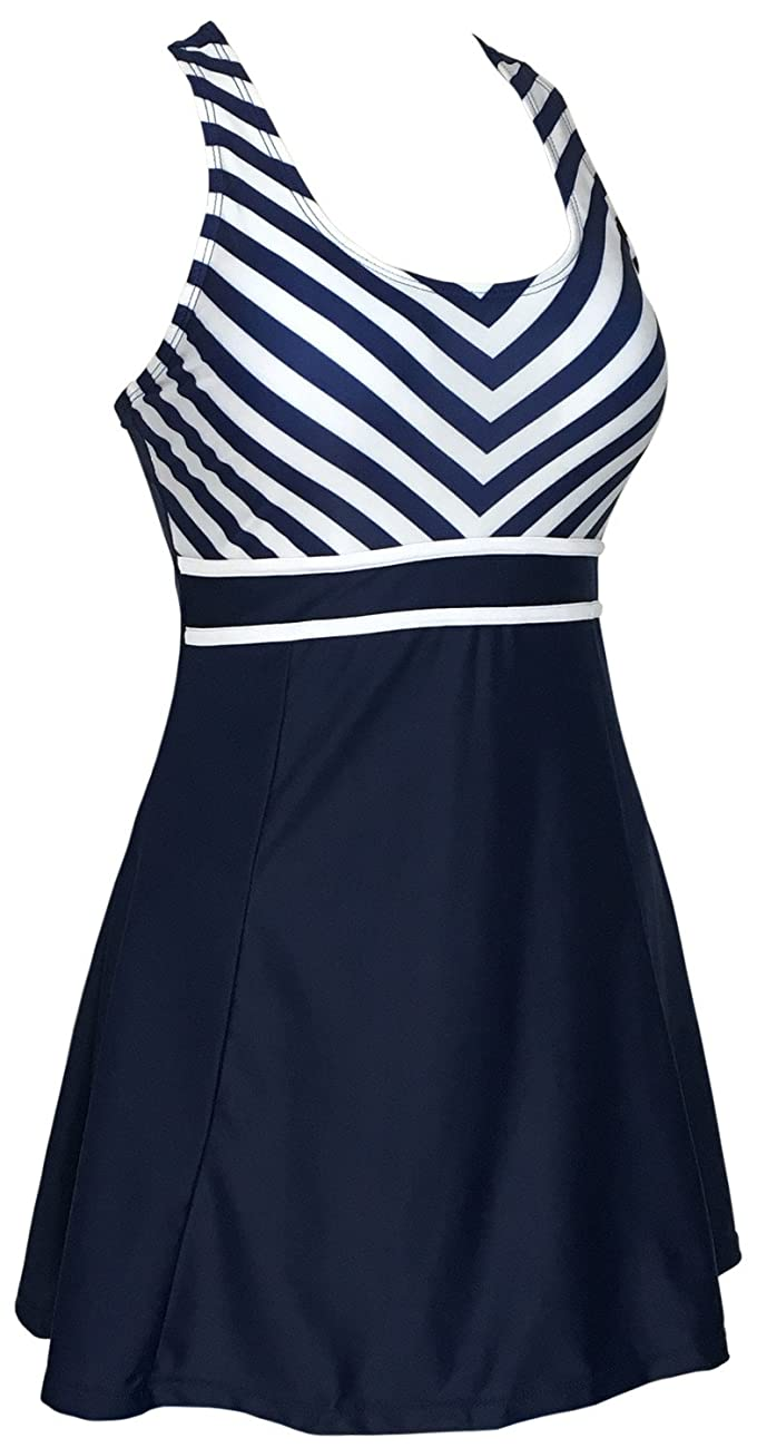 Women's One Piece Tankini Plus Size Swimdress Sailor Vintage Swimsuit 1