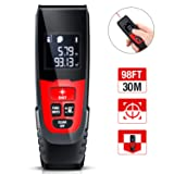 Laser Measure, Compact and Slim Design Laser Distance Meter, 98Ft M/In/Ft Mute Dinofire Laser Measurement Tape with Backlit LCD & Pythagorean Mode By HUIMEOW