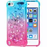 Flocute iPod Touch 5 6 7 Case, iPod Touch 5 6 7 Glitter Case Gradient Bling Sparkle Floating Liquid Soft TPU Cushion Luxury Fashion Girls Women Cute Case for iPod Touch 5th 6th 7th (Teal Pink) (Color: Teal Pink)