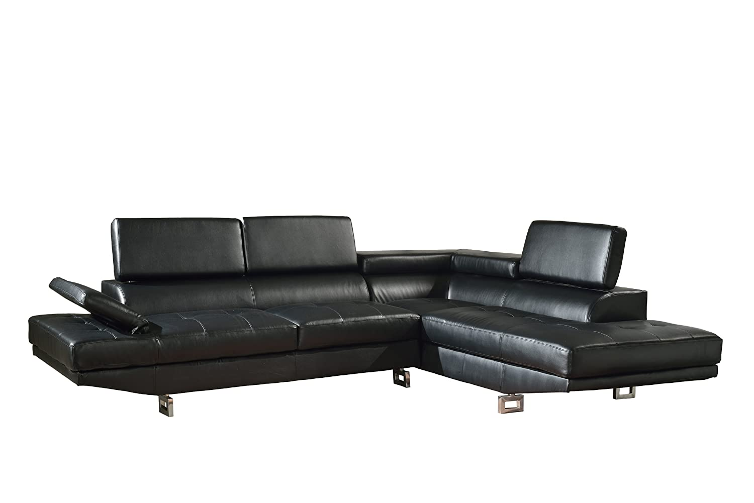 Beverly Furniture Diana Bonded Leather 2-Piece Contemporary Sectional Sofa Set - Black