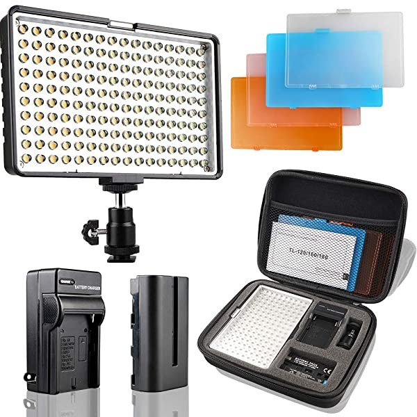 LED Camera Light/Camcorder Video Light Panel, SAMTIAN 160 LED Video Photo Light Kit, Ultra Bright Panel Light with Four Color Filters, Battery, Charger, Carry Case for All DSLR Cameras (Color: TL-4)