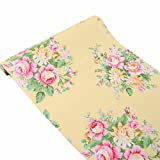 Vintage Floral Adhesive Paper Vinyl Shelf Liner Peel Stick Dresser Drawer Sticker Home Deco 17.7inch by 118inch (Color: Yellow, Tamaño: 17.7W X 118L)