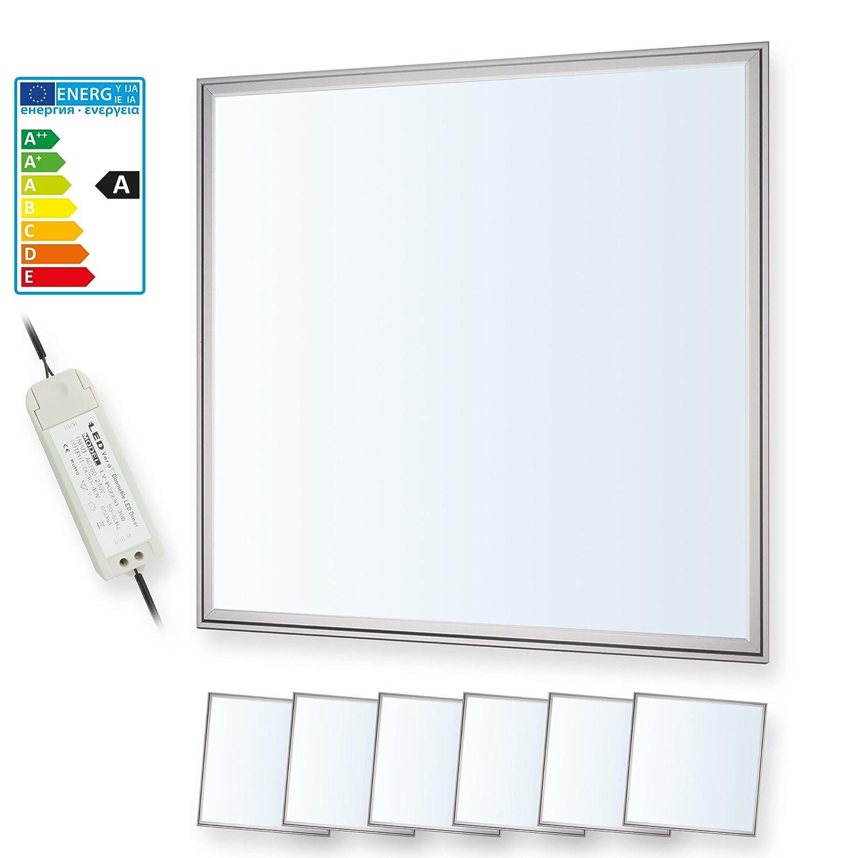 6x LEDVero 60x60 cm Ultraslim LED Panel dimmbar - 36W, 2600lm, 6000K Deckenleuchte mit Befestigungsclips und dimmbarem EMV2016 Trafo - kaltweiß