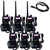 Retevis RT-5R 2 Way Radio 5W 128CH Dual Band UHF/VHF 400-520MHz/136-174MHZ FM Walkie Talkies (6 Pack) and Programming Cable