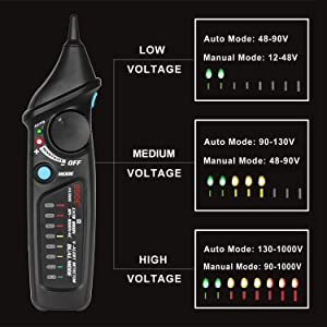 Bside Non-Contact Voltage Tester Inductive Electric Detector Pen Power Socket Outlet AC Voltage 12V-1000V Dual Mode Adjustable Sensitivity NCV Live Wi