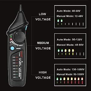 Bside Non-Contact Voltage Tester Inductive Electric Detector Pen Power Socket Outlet AC Voltage 12V-1000V Dual Mode Adjustable Sensitivity NCV Live Wi