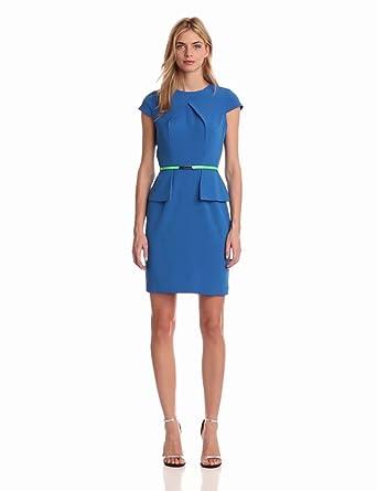 Danny & Nicole Women's Crepe Peplum Dress, Blue, 6 Missy