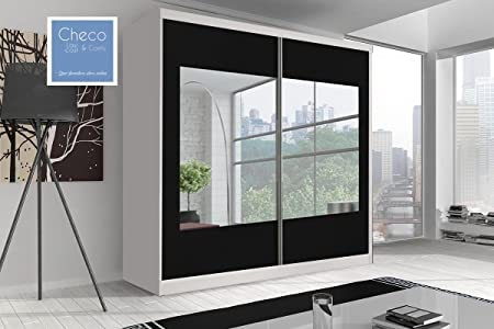 BRAND NEW SLIDING DOOR WARDROBE 6ft 8in (203cm) 'REFLECTION' MULTI F03 WHITE SIDES & BLACK DOORS WITH MIRROR