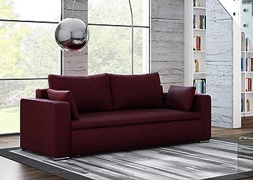 3-Sitzer Sofa mit einem auberginefarbenem mikrofaserähnlichen Feinstrukturstoff bezogen, Schlaffunktion und Bettkasten, Maße: B/H/T ca. 237/90/100 cm