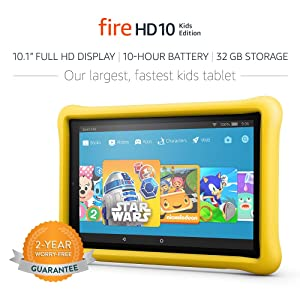 Fire HD 10 Kids Edition Tablet, 10.1 1080p Full HD Display, 32 GB, Yellow Kid-Proof Case (Color: Yellow)