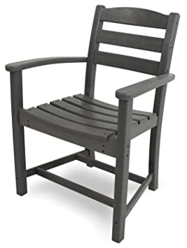 POLYWOOD TD200GY La Casa Café Dining Arm Chair, Slate Grey