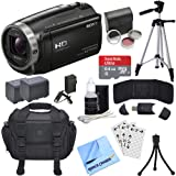 Sony HDR-CX675/B Full HD Handycam Camcorder Deluxe Bundle includes HDR-CX675/B Handycam, Filter Kit, Battery x 2, Charger, 64GB microSDXC Memory Card, Tripod, Cleaning Kit, Beach Camera Cloth & More!