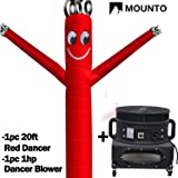 MOUNTO 20ft Air Sky Puppet Dancing Dancer with 1HP Blower Complete Set, 20-Feet 18Inch (Red) (Color: Red, Tamaño: 20ft high, 18inch diameter)