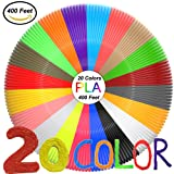 3D Pen Filament Refills(20 Colors,20 Feet Each) Total 400 Feet,PLA Filament 1.75mm,PLA 3D Printing Pen Filament 3D Pen For Kids,No Stuck, Non-toxic and Odorless,Not Fit for 3Doodler Pen (Color: PLA-20)