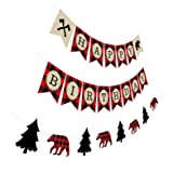 Silvima Lumberjack Birthday Banner with Garland, Camping Woodland Bear Woodsman Bday Party Sign Decorations (Color: Lumberjack Birthday)