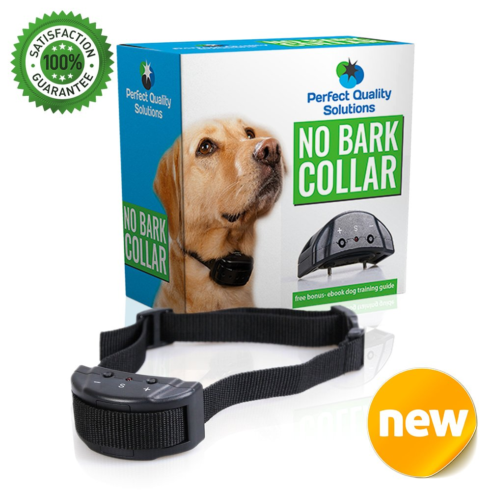 PERFECT QUALITY SOLUTIONS ONE Day Sale Advance No Bark Collar No Harm Shock Dog Control-7 Sensitivity Adjustable Control Levels for Training Small Medium Or Large Dogs-Free Bonus:Training EBook