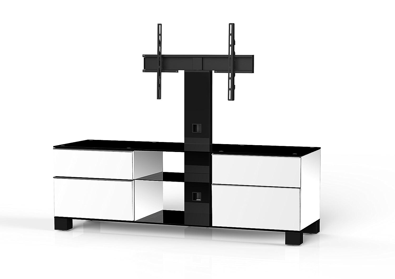 Sonorous MD 8340-B-HBLK-WHT Fernseher-Möbel mit Schwarzglas (Aluminium Hochglanz, Korpus Hochglanzdekor) weiß/schwarz