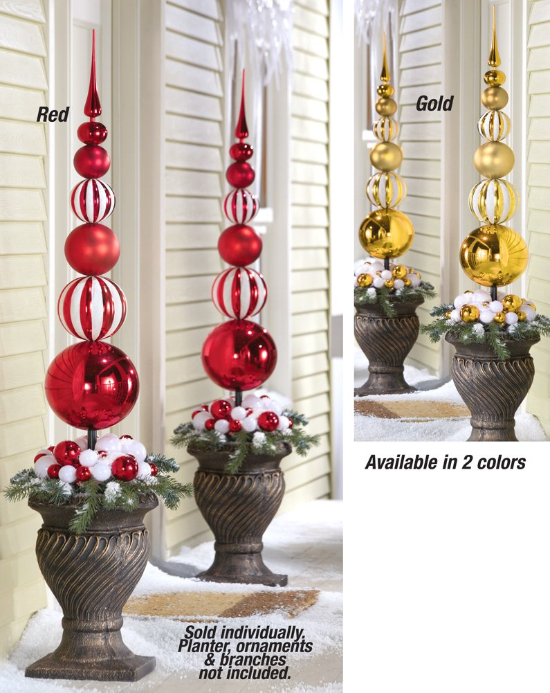 Christmas Stacked Ornament Ball Finial Topiary Stake Stake Red