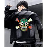 Cool Iron on Skull Patch for Jackets 10''Large Color Skeleton Embroidered Sew-on/Iron on Head Motorcycle Patch for Biker Clothes/Jeans/Vest/Sweater to Cover Rip/Logo (Color: Skull patch)