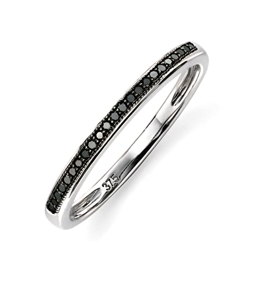 9ct white gold pave set black diamond ring