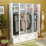 KOUSI Portable Closet Clothes Wardrobe Bedroom Armoire Storage Organizer with Doors, Capacious & Sturdy, White, 8 Cubes&4 Hangers (Color: White: 8 Cubes&4 Hangers, Tamaño: White:8 Cubes&4 Hangers)