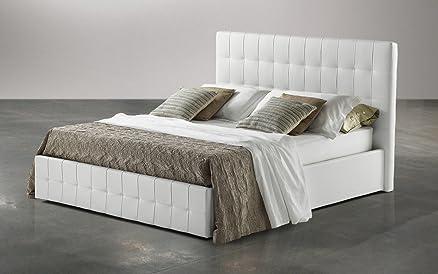 Dafnedesign.com - Letto matrimoniale con contenitore similpelle bianco cm. 180 x 210 x 116h
