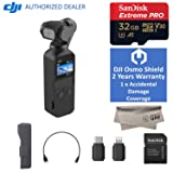2018 DJI Osmo Pocket Handheld 3 Axis Gimbal Stabilizer with Integrated Camera, OSMO Shield(Warranty), Comes A Free 32GB Extreme Pro 100MB/s, Attachable to Smartphone, Android, iPhone