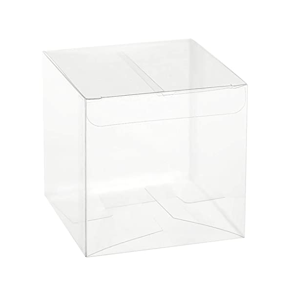 Clear Plastic Candy Boxes - Transparent, Empty Containers Ideal Packing Box for Wedding, Birthday, Anniversaries Parties 2x2x2 (24 Pack) (Tamaño: 2x2x2)
