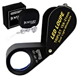 GAIN EXPRESS 15x 21mm Optic Glass Loupe 6 LED & UV Light Magnifier Jeweler Foldaway Pocket Black Frame Achromatic Aplanatic Triplet Lens Magnifying Gem Jeweler (15X Magnification) (Color: 15x Magnification)