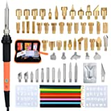 Wood Burning Kit,71Pcs Soldering Iron Tool, 60W/110V Temperature Adjustable WoodBurner Soldering Iron Tool,Embossing/Carving/Soldering Tips,Pencils,Stands with Storage Bag (Color: As Shown, Tamaño: Medium)
