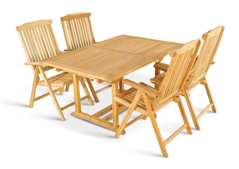 SAM® Gartengruppe Caracas, 5 teilig, Gartenmöbel aus Teak-Holz massiv, 4 x Garten-Hochlehner Aruba, Gartenstuhl mit Armlehnen, Auszieh-Tisch mit Schirmloch, Terrassen-Möbel aus Holz, Teakholz-Möbel