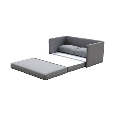 "US Pride Furniture Kathy Reversible 5.1"" Foam Fabric Loveseat and Sofa Bed Couch Sleeper, Gray"
