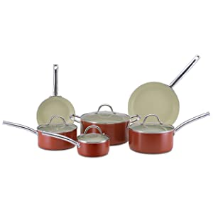 CeraStone CCJES77 Earth Series 10-Piece Ceramic Non Stick Cookware Set made in USA reivew