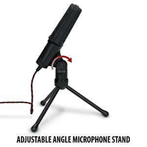 USB Condenser Gaming Microphone - Computer Recording Streaming Mic with Adjustable Stand Design and Mute Switch by ENHANCE - For Skype, Conference Calls, Twitch, Youtube, and Discord - Red