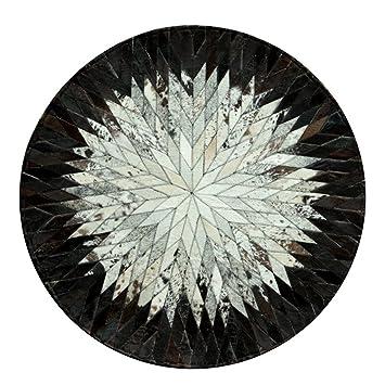 ANDEa Manual en blanco y negro Ronda de costura Pequeña alfombra estudio silla de ordenador mesa de centro de la sala de estar alfombra dormitorio Manta de cabecera Originalidad ( Color : #1 , Tamaño : D120CM )