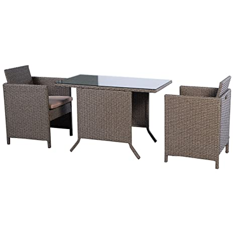 Gartenmöbel ratten Gartensitzgruppe Lounge Gartenset Essgruppe Garnitur 3tlg Polyratten Lounge Set