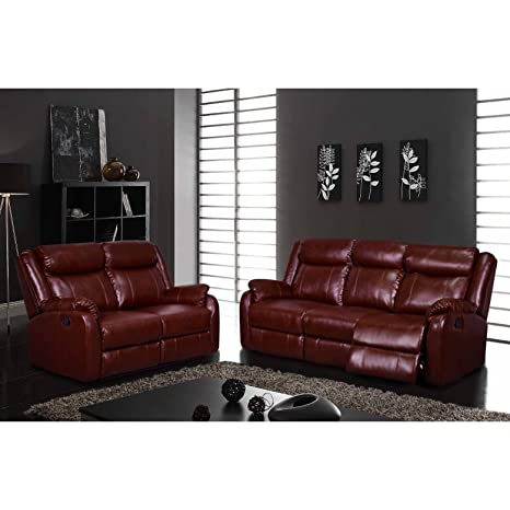 Metro Shop Transitional Burgundy Reclining Sofa-Reclining Sofa Burgundy