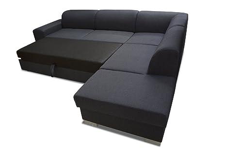 Sofa Elmo mit Ottomane links in schwarz mit Bettfunktion und Staukasten – Abmessungen: 280 x 220 cm (L x B)