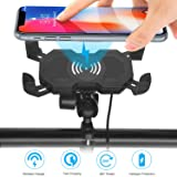 Leepiya Motorcycle Phone Mount with Wireless Charger.10W Qi Fast Charging Cell Phone Holder for Motorcycle ATV Boat Snowmobile.Compatible with iPhone Xs MAX XR X 8 8P.Samsung S10 S10P S9 S9P S8 S8P (Color: black, Tamaño: 12.5*7.8*6.8 cm)