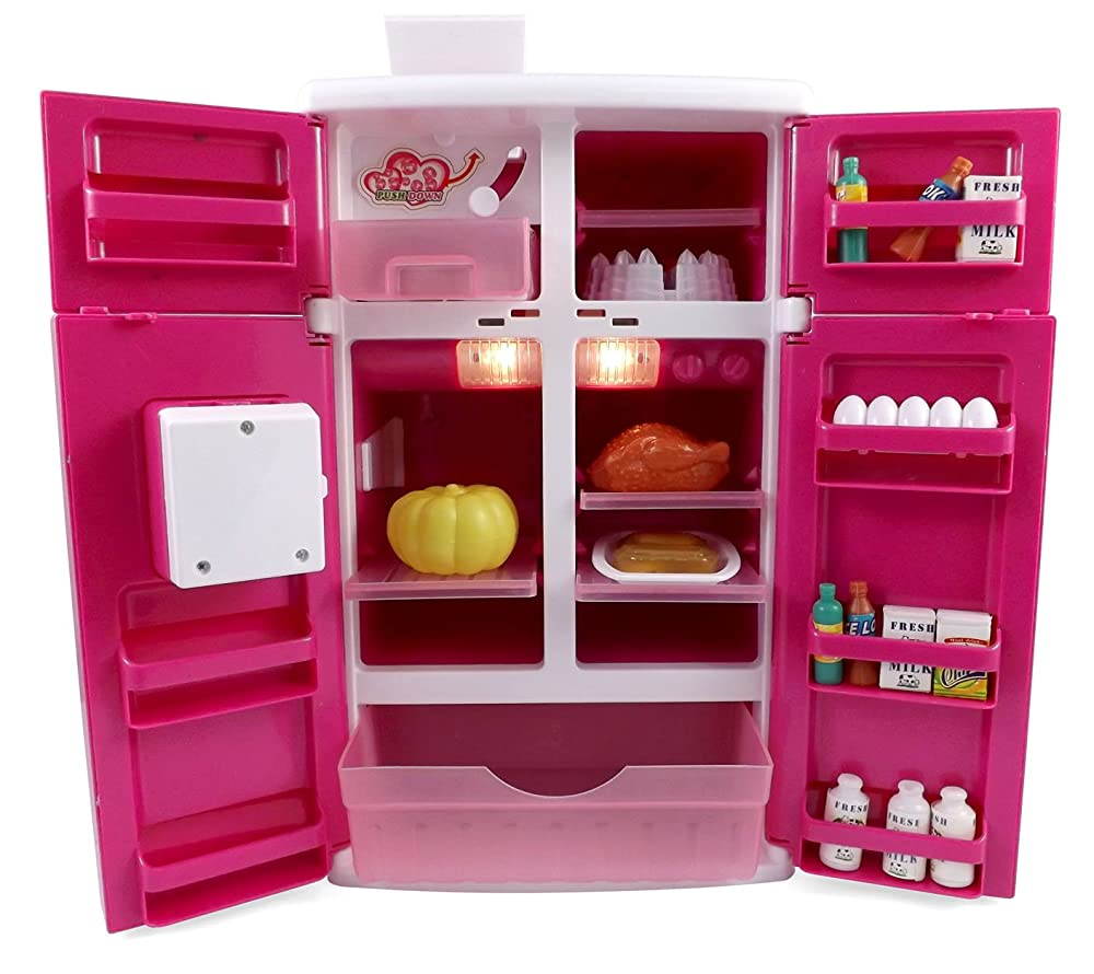 Dream Kitchen Refrigerator Pink Toy Fridge Playset For