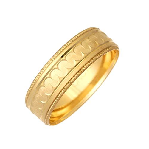 9ct Yellow Gold Millgrain Egde Matt With Curve Centre Design 7mm Wedding Ring
