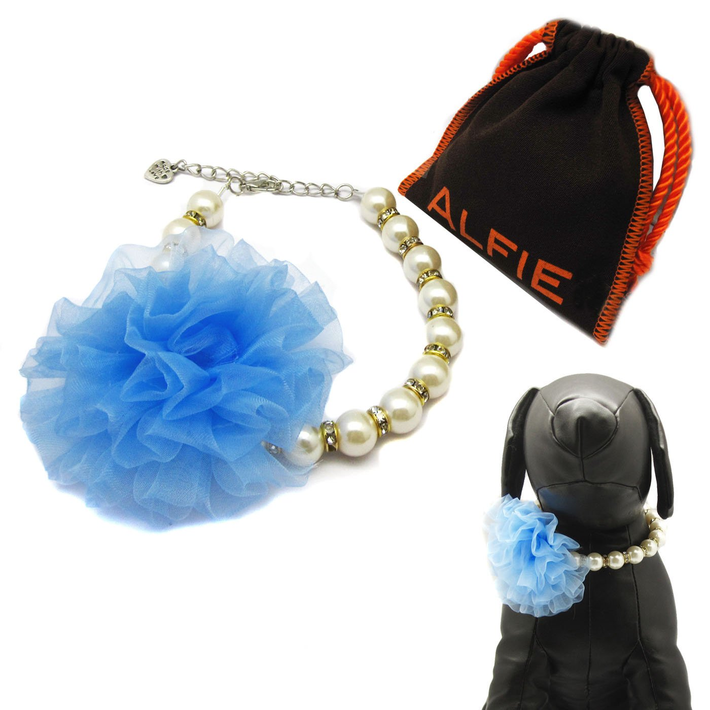 Alfie Pet by Petoga Couture - Parvani Floral Pearl Necklace for Dogs and Cats with Fabric Storage Bag, Color: Blue alfie and dad