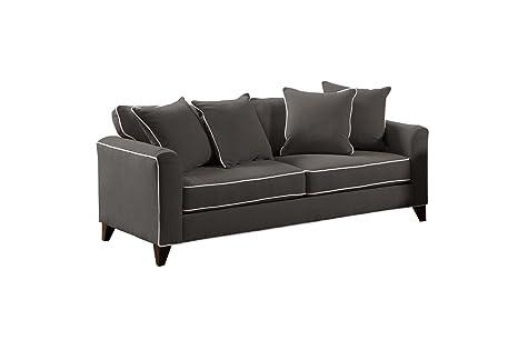 Furniture of America Verite Chenille Sofa, 89-Inch, Charcoal