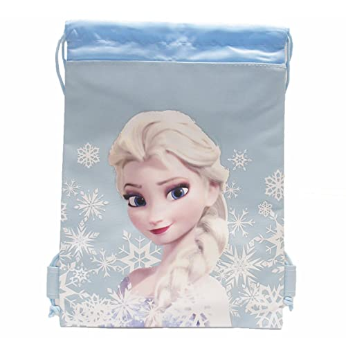 New Disney Frozen Queen Elsa Drawstring String Backpack School Sport Gym Tote Bag!- Baby Blue