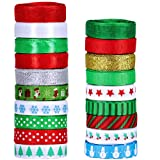 19 Rolls 135 Yard Christmas Ribbons Trims Printed Grosgrain Ribbons Multicolor Organza Ribbons Satin Ribbons Metallic Glitter Ribbons 3/8