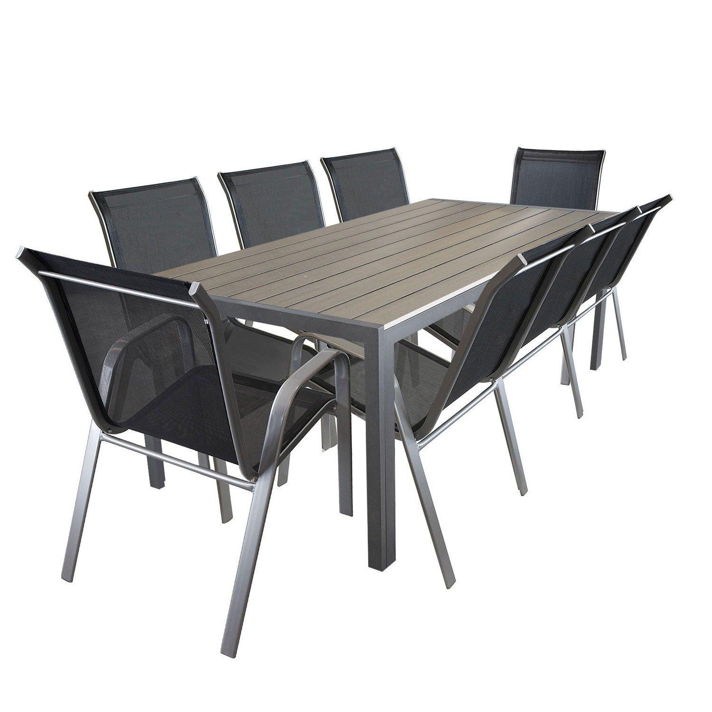 9tlg. Gartengarnitur Aluminium Gartentisch mit Polywood-Tischplatte 205x90cm Gartenstuhl Gartensessel Stapelstuhl pulverbeschichtet mit Textilenbespannung Terrassenmöbel Gartengarnitur Sitzgruppe jetzt bestellen